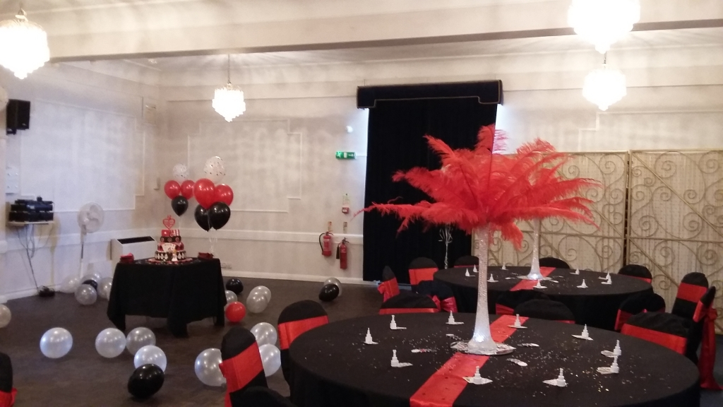Red feather centre pieces
