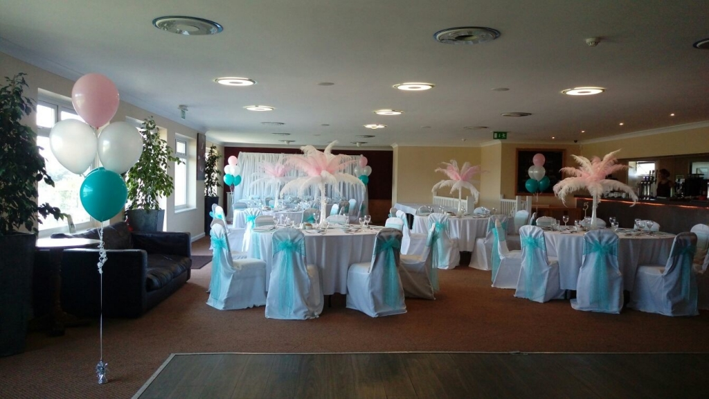 Pink and white feather centre pieces