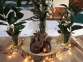 Bespoke Centre pieces with ruscus and foxes