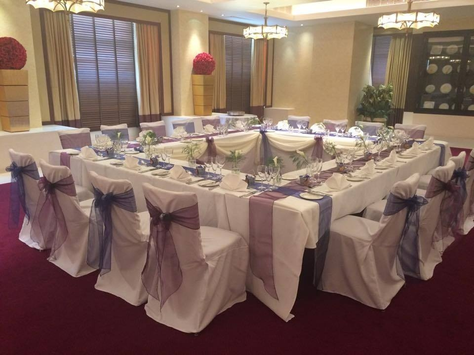 Purple and blue with white at the Cavendish hotel