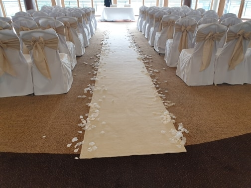Wedding chair covers at East Sussex National Golf Club