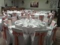Rose gold satin sash on white chairs at Hotel Du Vin, Brighton