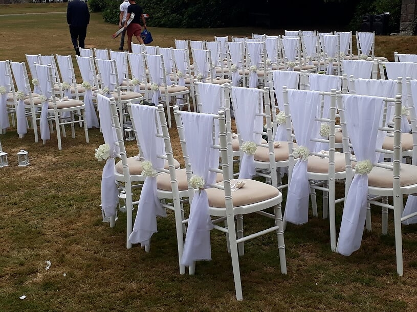 Ashdown Park White chivari chairs