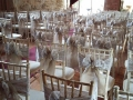Double hessian and lace sashs on limewash chivari chairs