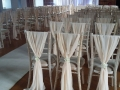 Chivari chairs with chiffon chair drop