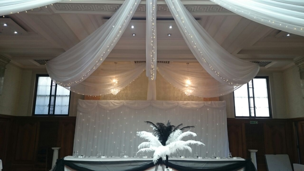 Ceiling drapes and backdrop at Pelham house Lewes