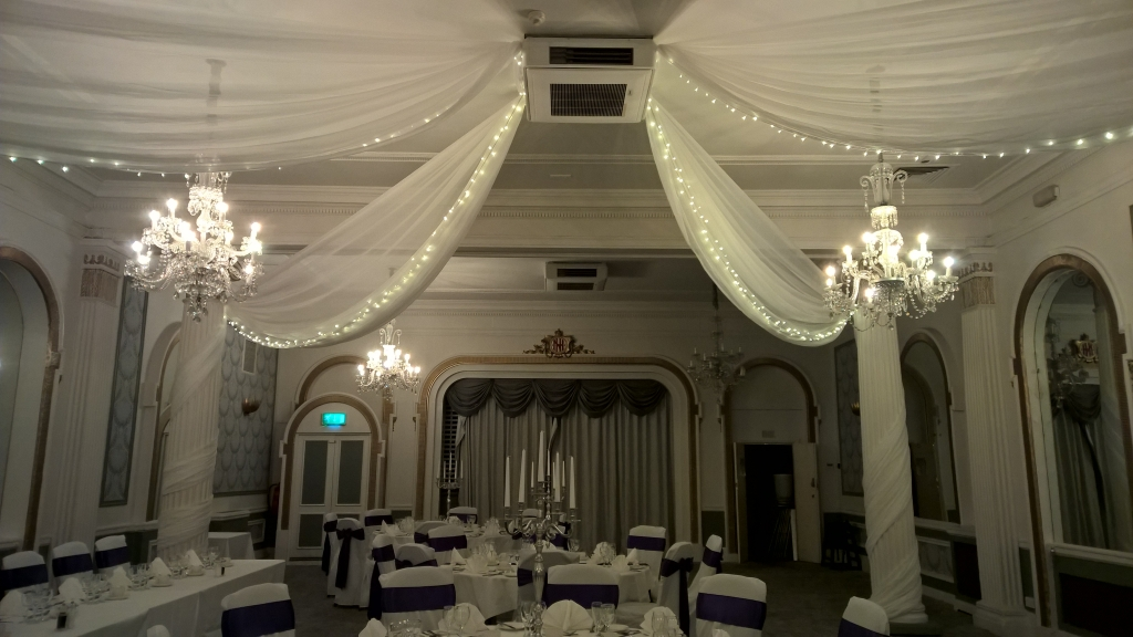 Ceiling drapes at the Mercure hotel Brighton
