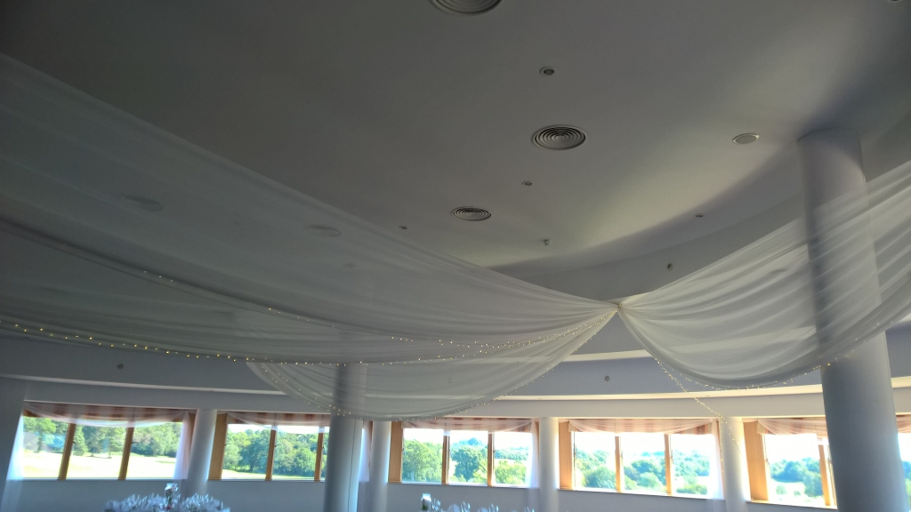 Ceiling drapes at East Sussex National golf club