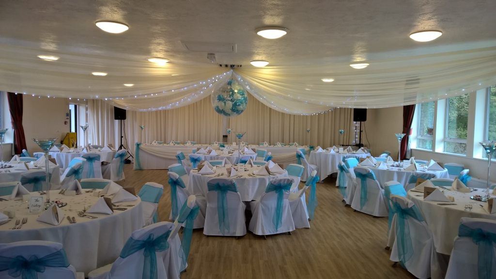 Ceiling drapes at Hollingbury golf club