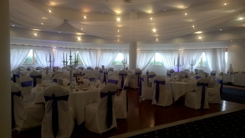 Ceiling drapes and wall drapes at East Sussex National Golf club