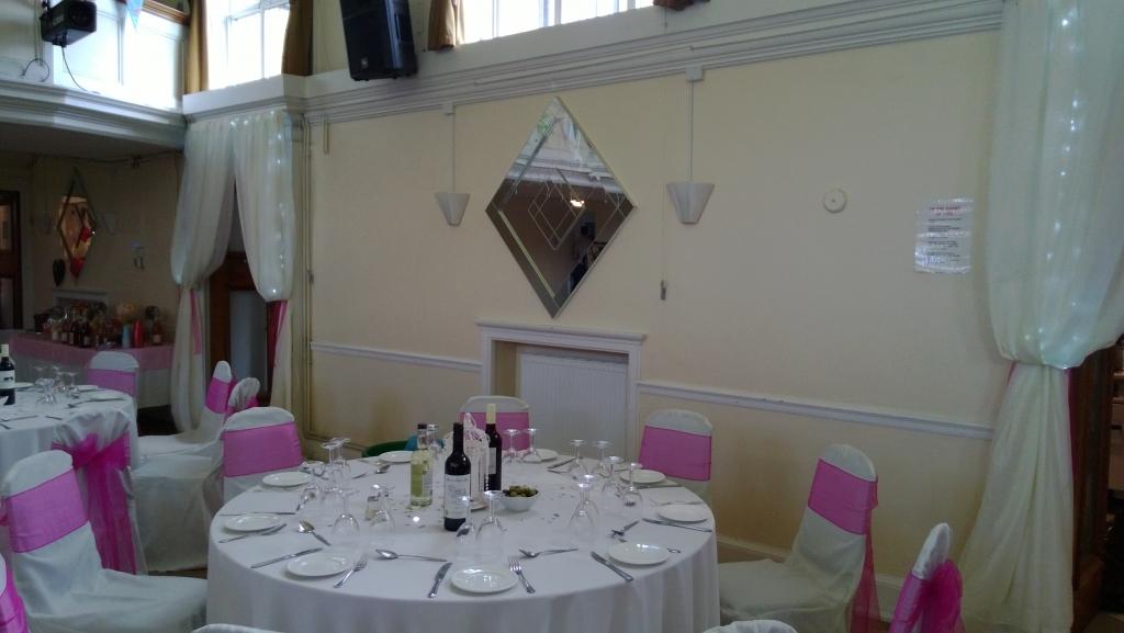 Cream floor length table cloths
