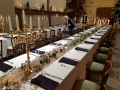 Nude Table cloths and Deep plum napkins